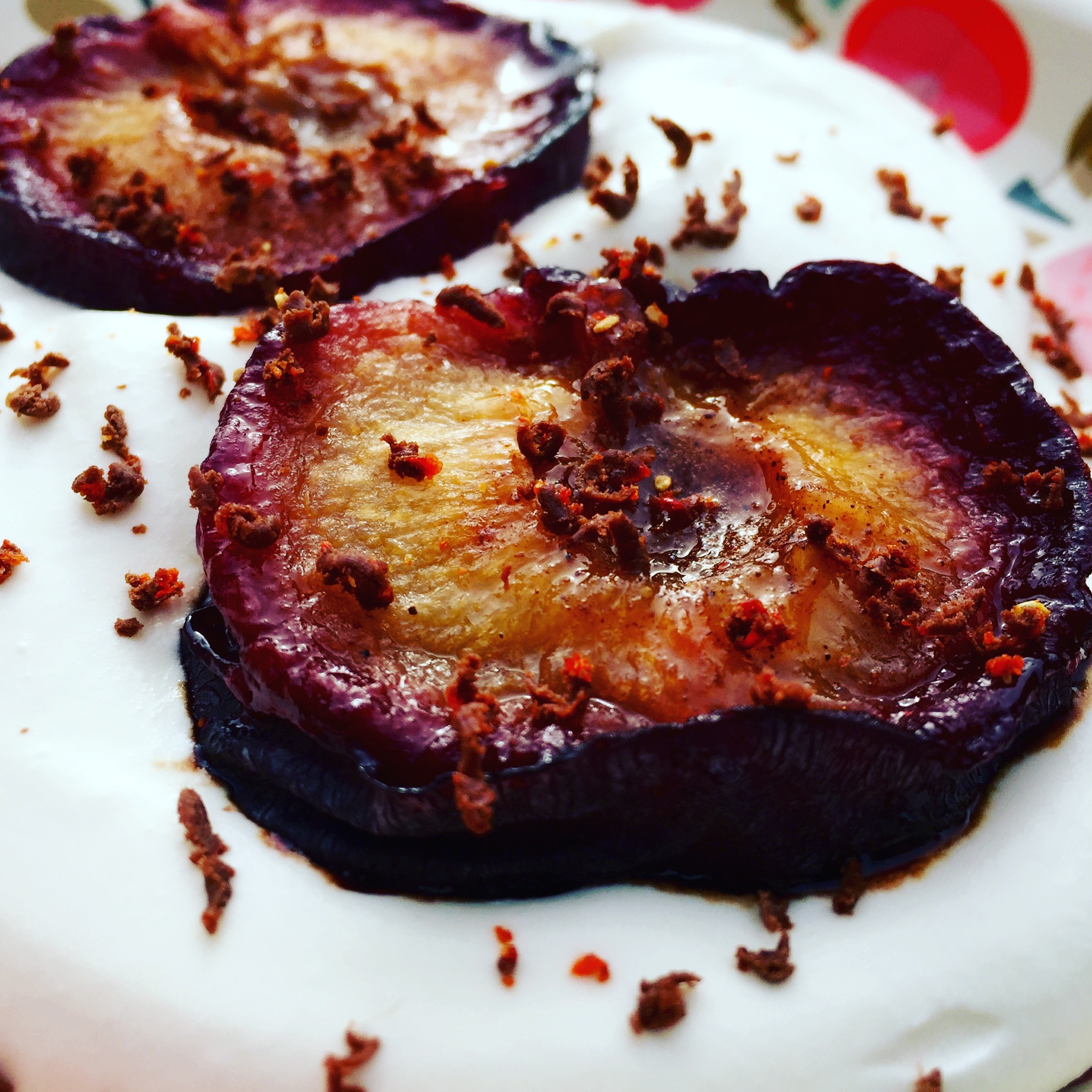 Baked Plum with Coconut Cream